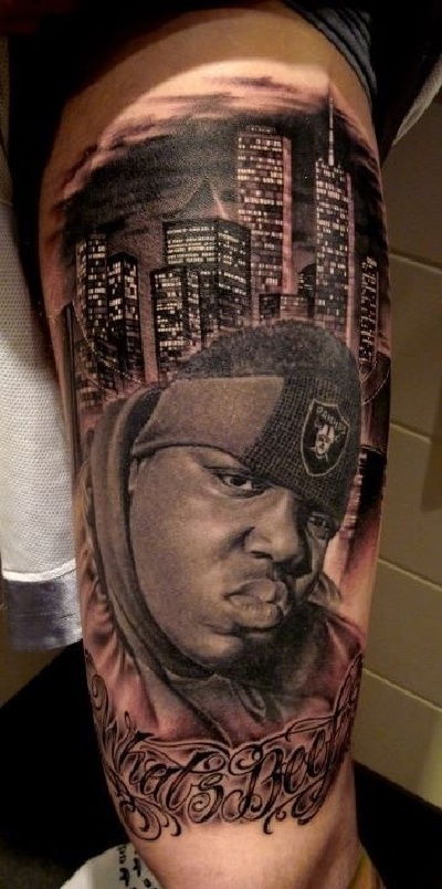 some of the most awesome rap inspired tattoos biggie forever. Black Bedroom Furniture Sets. Home Design Ideas